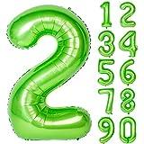 Angel&tribe 番号 0-9 誕生日 パーティー 装飾 ヘリウム 箔 マイラー 大きい 番号 バルーン 40インチ グリーン 番号2