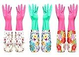 花柄 ゴム手袋 長袖 手口 3色セット 可愛い 捗る