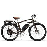 COMET 700C電動自転車48V 13Ah 500W 7速電動自転車5レベルペダルアシストレトロスタイルEbike (褐色)