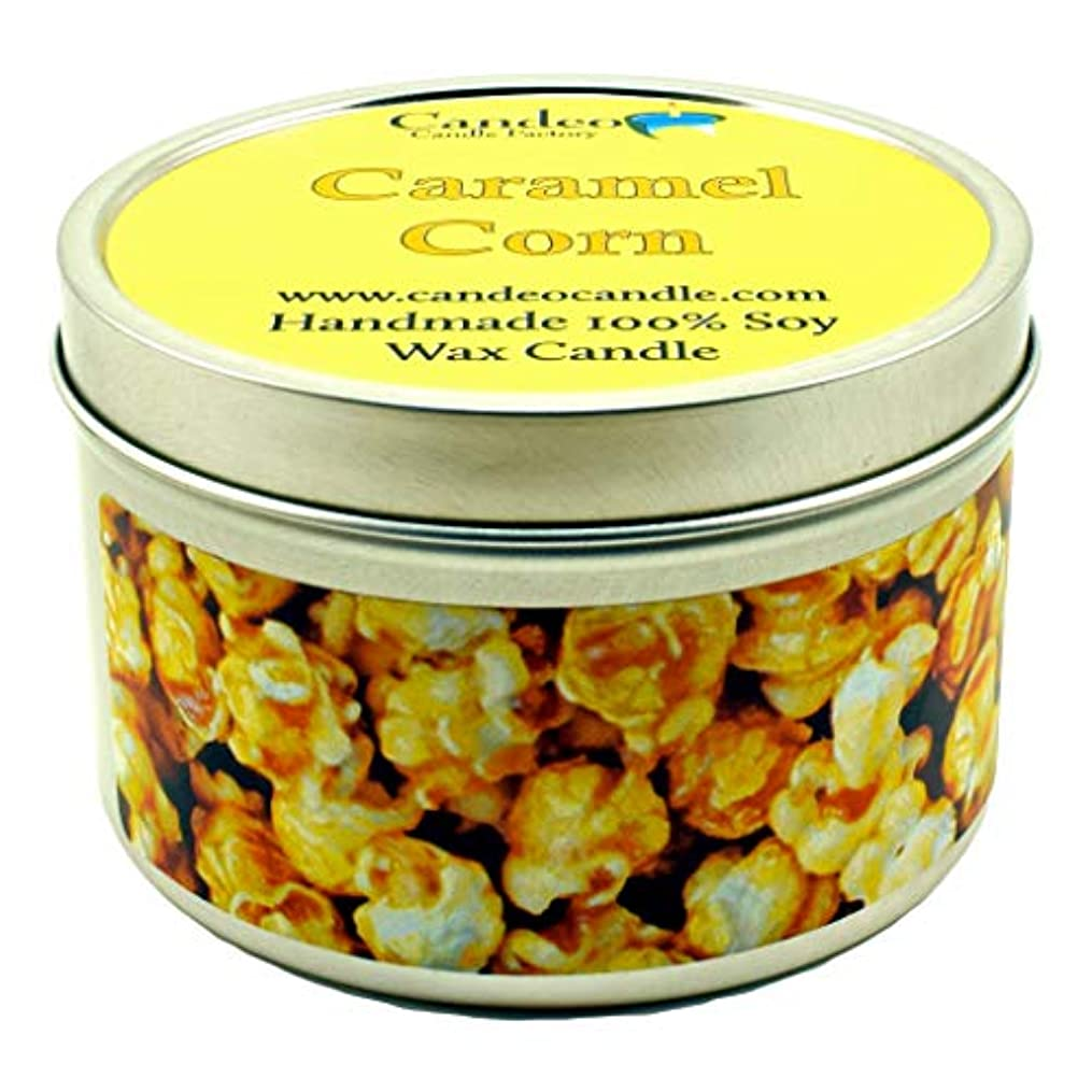 ロマンチック衣服検体(180ml) - Caramel Corn, Super Scented Soy Candle Tin (180ml)