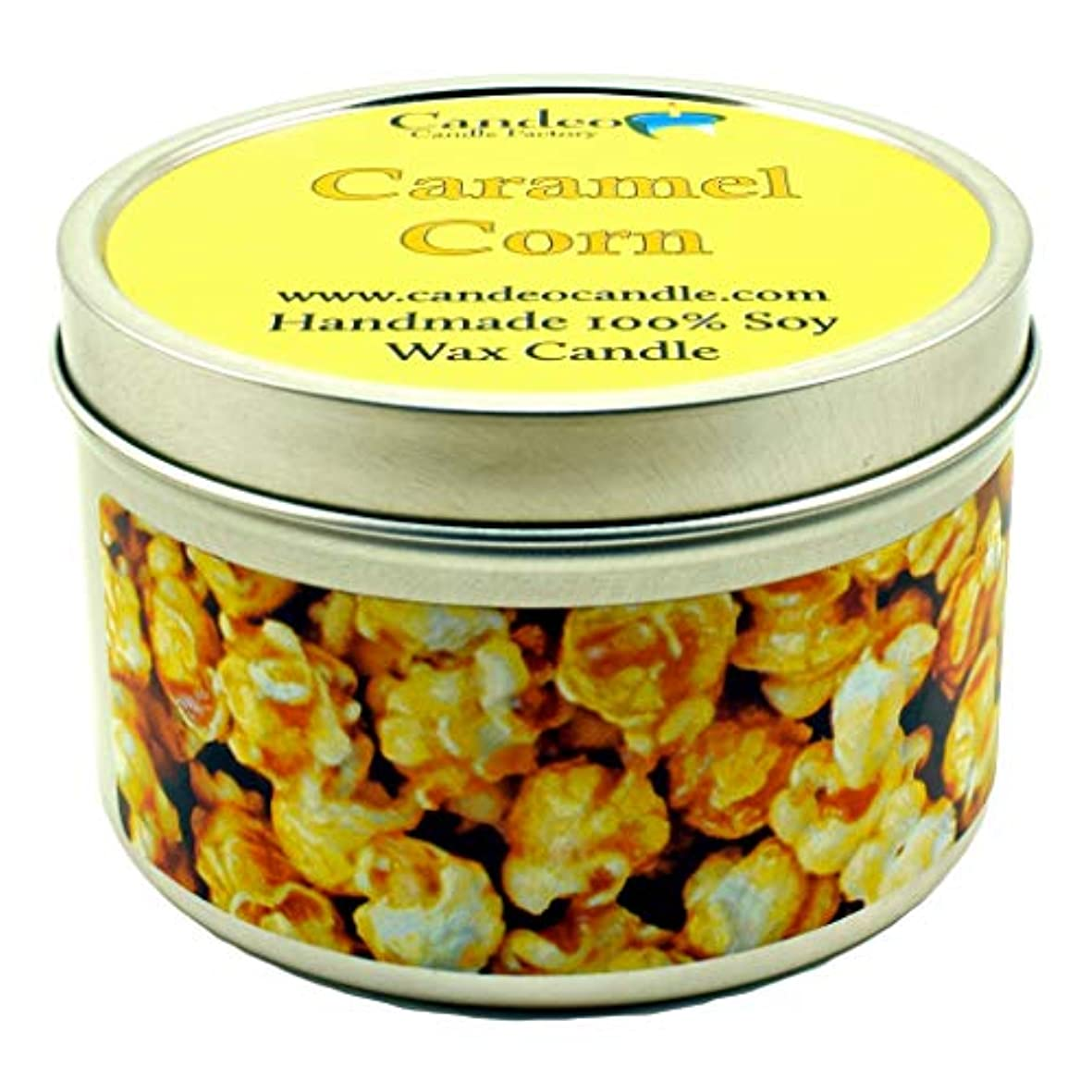 不合格発揮する愛国的な(180ml) - Caramel Corn, Super Scented Soy Candle Tin (180ml)