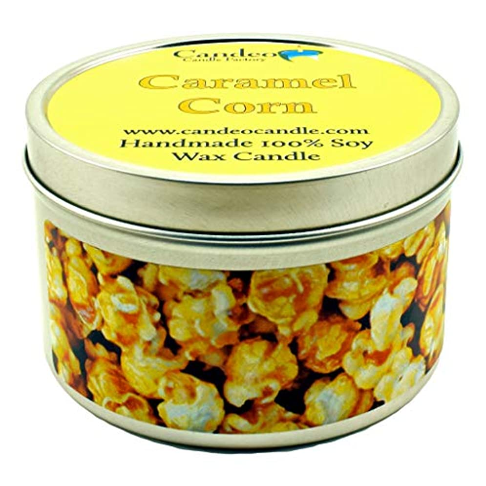 (180ml) - Caramel Corn, Super Scented Soy Candle Tin (180ml)