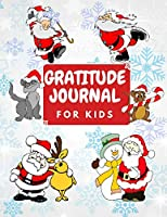 Gratitude Journal for Kids: Christmas Cat Daily Prompts for Writing & Blank Pages for Drawing. Today I Am Grateful For, Interactive Children Happiness Notebook