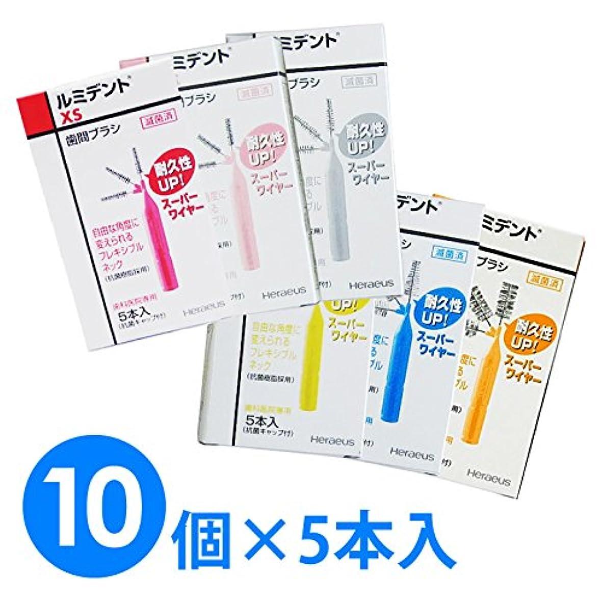 レイ関係ない流用する【10個1箱】ヘレウス ルミデント 歯間ブラシ 5本入り×10個 (M ブルー)