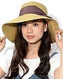 ダークブラウン F (ディーループ)D-LOOP UV カット カプリーヌハット リボン 付き 折り畳み 可能 女優帽 レディース つば広 日よけ 折りたたみ ハット 無地 かわいい 紫外線 対策 日除け つばひろ 麦わら 帽子 ぼうし つば広帽子 つば広め 122592-010-408
