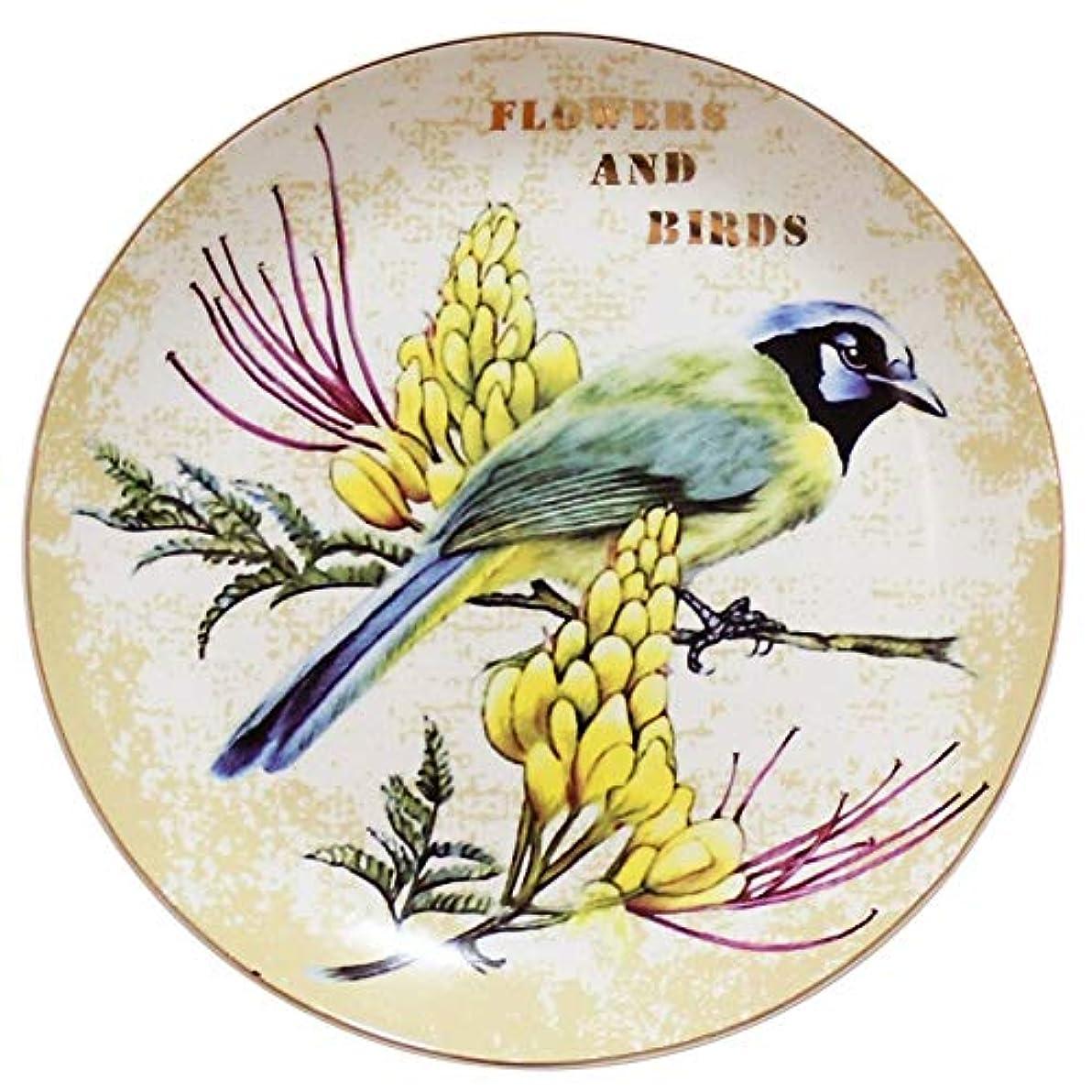素晴らしい良い多くの偶然の差し迫ったWOAIPG 磁器 クリエイティブ鳥花装飾壁料理磁器装飾プレートヴィンテージ家の装飾工芸  スタイルA 8インチ