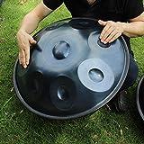 Rakuby 9ノートハンドパン ハンドバン ハンドドラム カーボンスチール素材 パーカッション 楽器キャリー バッグメタルスタンド Blue