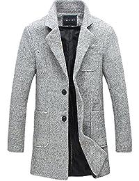 FOMANSH メルトン ウール コート メンズ チェスターコート ファッション 無地 トレンチコート カジュアル アウター 秋 冬 大きいサイズ