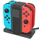 Fosmon Nintendo Switch Joy-Con コントローラー グリップ 充電器 充電ステーション チャージャー【4台同時充電 | 指示LEDランプ付き | Type-C USBケーブル付き】任天堂 ニンテンドー スイッチ ジョイコン 充電ス