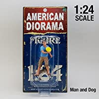 【American Diorama】アメリカンジオラマ【1:24 Man/Woman and Dog (Set of 2)】1/24 犬と飼い主のフィギュアセット (Man and Dog)