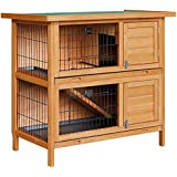 2 Storey Rabbit Hutch Chicken Coop Guinea Pig w/Tray Ferret Cage Hen House Run