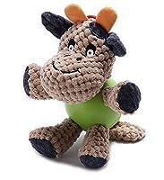 Npet 犬噛むおもちゃ 声の出る ペット用品 歯ぎしり ぬいぐるみ ストレス解消 耐久性あり 小型/中型犬に適用 (牛)