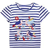 DYW Toddler Girls Short Sleeve T-Shirt Round Neck Cute Graphic Cotton Tees 2-7 Years