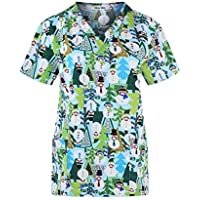 Minty Mint Women's Medical Scrub Printed V-Neck Top Multi Pack