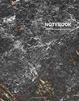 Notebook: Elegant Dark Grey Marble with White Lettering - Trendy Marble Journal | 110 College-ruled Pages | 8.5 x 11 - ( Journal, Notebook, Diary, Composition Book)