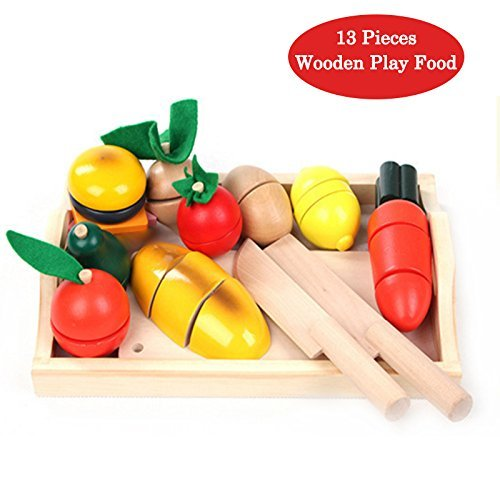 木製のままごと遊び玩具、十三種類の台所用具と食物を勉強する用...