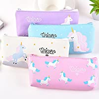 Pen Pencil Case Durable Students Stationery Multifunction PU Cosmetic Makeup Pouch Bag,Cute Unicorn Design,Set of 4