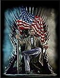 【鉄の玉座に座るエイブラハム リンカーン大統領】 余白部分にオリジナルメッセージお入れします!ポストカード・はがき(黒背景)