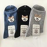 柴犬 ソックス 靴下 23~25cm 犬モチーフ 3点セット シバ シバ犬ちゃんのお顔シリーズ
