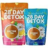 Skinny Boost 28 Day Detox Kit- Best Weight Loss Slimming Detox Tea 1 Daytime Tea (28 Bags) 1 Evening Tea (14 Bags) Detox, Cle
