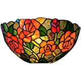 Tiffany Style Wall Sconce Light, 12 Inches Stained Glass Rose Wall Washer Wall Lamp for Bedroom Living Room Aisle Corrido, Bathroom Mirror Headlight