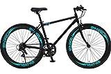 NEXTYLE (ネクスタイル) クロスバイク タイヤ 700C SHIMANO(シマノ) 7段変速 アルミ 【ライト リアライト 鍵 セット販売】 クロスバイク 女性 男性 初心者 CNX-7006-BK(ブラック)