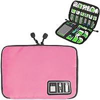 万能モバイル収納ケース PC周辺小物整理 ケーブル、携帯電話、充電器、MP3プレーヤー、USBメモリー、タブレットアクセサリーなどの収納バッグ 防水 軽量 携帯便利 旅行用(ピンク)