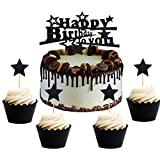 JeVenis (黑)ケーキトッパー ケーキデコレーション 誕生日装飾 パーティー ハート 星 ケーキ装飾 ケーキ挿入カード ケーキスティック HAPPY BIRTHDAY