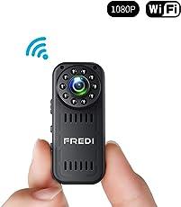 FREDI 超小型WiFi隠しカメラ 1080P超高画質防犯カメラ監視カメラ WiFi対応スパイカメラ 4分割画面ワイヤレス小型カメラ 小型隠しビデオカメラ 暗視録画機能付き 日本語取扱 動体検知 iPhone/Android/Win/iPad 遠隔監視・操作