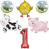 バーンヤードファームアニマル 1歳の誕生日 ビッグバルーンバンドル 1歳 牛 豚 鶏