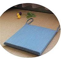 リネンオフィスの畳のクッションマット夏の通気性のシンプルな家庭食卓のクッション,スクエア[取り外し]スカイブルー,直径30*30*厚4cm