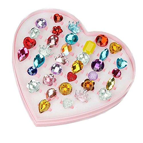 [해외]36 개의 화려한 보석 어린이 세트 여자 반지 분홍색 하트 모양의 보석 상자와 조정 가능한 보석/36 books gorgeous jewelry children set girl ring ring pink heart shaped jewelry box and adjustable jewelry