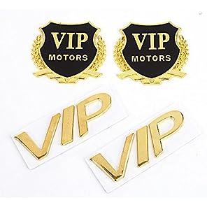 【4点セット】汎用 エンブレム VIP 高級車 2種類各2個セット 金 ゴールド