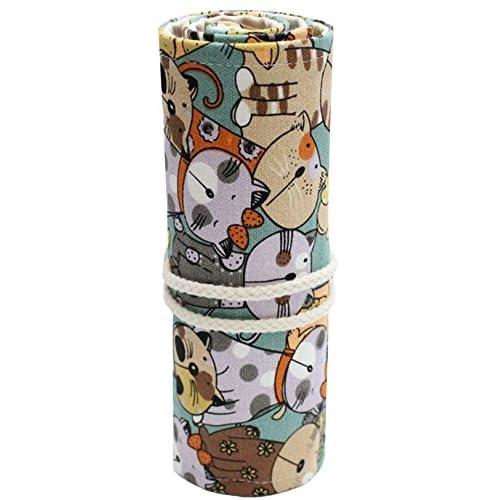 EOZY ペンシルポーチ ペンケース 可愛い 猫プリント 色鉛筆収納バッグ ロールアップ式 携帯便利 学生用 オフィス キャンバス 48