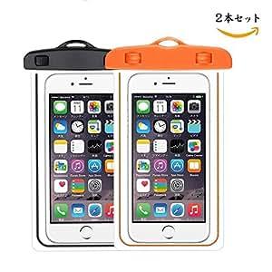Homeled [2本セット]防水ケース スマホ用 防水ポーチ 防水等級IPX8 お風呂 温泉 潜水 最大6インチスマホまでのiPhoneとAndroidに対応可能 夜間発光 (Black+Orange)