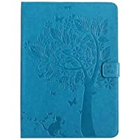 HONGYIBB iPad4ケース iPad3 アイパッド4 手帳型ケース おしゃれ 純色 TPU 花柄 カード入れ 財布カバー マグネット開閉式 スタンド機能 シンプルデザイン スマート カバー 装着やすい iPad4 / iPad3(9.7inch)対応 可愛い 木 猫 ブルー