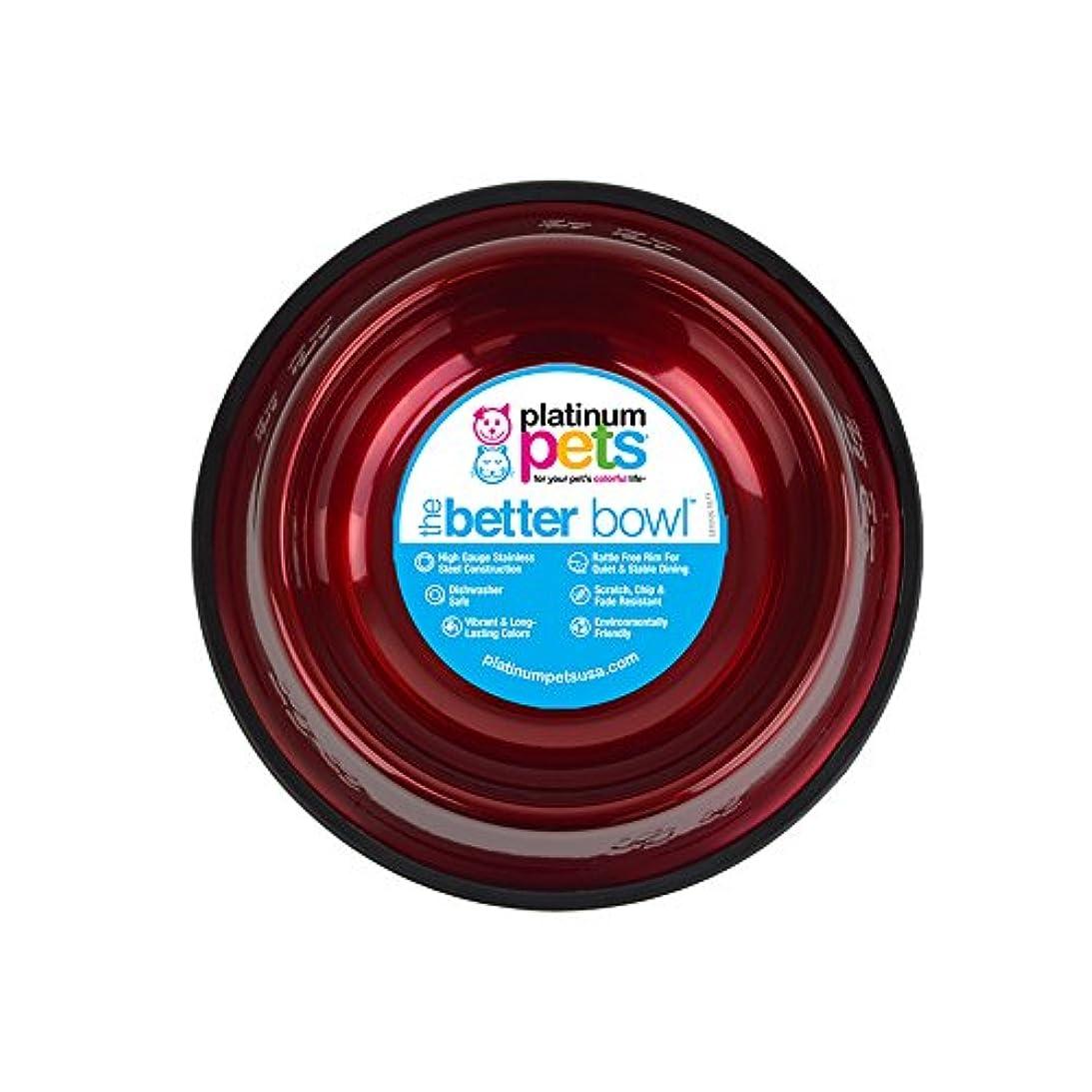スプーンアクロバット好ましいPlatinum Pets 6.25 Cup Embossed Non-Tip Stainless Steel Dog Bowl, Candy Red by Platinum Pets