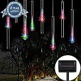 MYJP LEDイルミネーションライト LEDツララスティックライト ストリングライト LEDソーラーライト 流星 144LED 30CM/本 8本セット 防水 屋外 お庭やクリスマス飾りなど用(カラー)