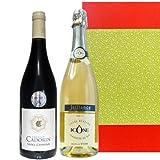 ワインセット シャンパン製法によるフランス、コート・デュ・ローヌのスパークリングワイン 2013年 AOCサン・シニアンの赤ワイン 750ml×2本