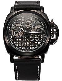 ManChDa メンズウォッチ 腕時計 MECHANICAL スケルトン自動機械 自動巻き レザーベルト ブラック