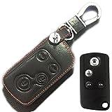 適用ホンダ オデッセイ アコード エリシオン インサイト ステップワゴン フィット レザー スマート キーケース キーホルダー 黒+赤ステッチ