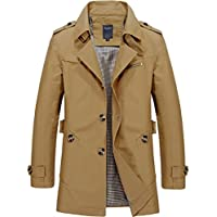 LuckYoung Men's Classic Single-Breasted Cotton Lightweight Jacket Belted Trench Coat