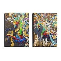 CAIXK フレームレス油絵、100%純粋な手塗りモダニズム2ピースリビングルーム、ミニマリストのための装飾的な絵画カラフルな馬の壁画,animals_14in*20in*2pc