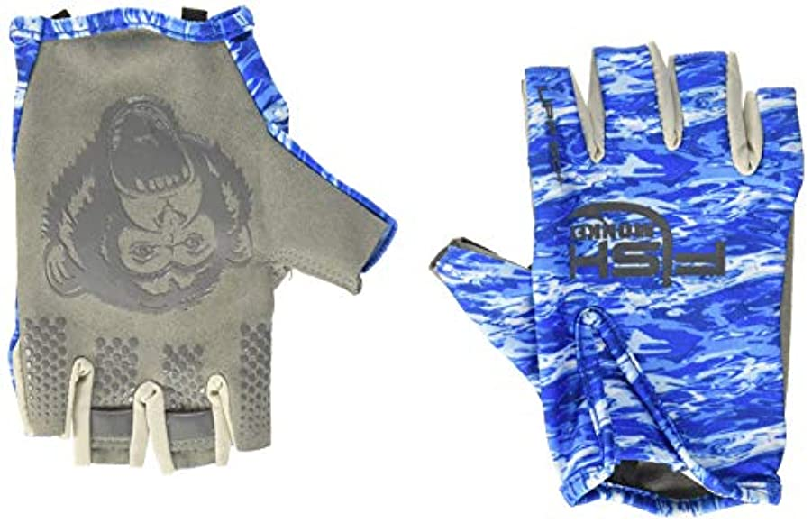 トーク動かないトリム(Large, Blue Water Camo) - Fish Monkey Stubby Guide UV Sun Glove