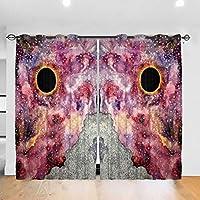 カーテン 遮光遮熱カーテン 宇宙のブラックホール ドレープカーテン 断熱 防寒 日焼け止め 目隠し 厚地 寝室 客間 小窓用 2枚セット (幅132*長さ183cm)