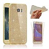 Samsung S6クリアフルプロテクトケース、Samsung S6フルプロテクトケース、セブンパンダ360度前後のクリアケースキラキラ防止スクラッチハル防止スクラッチハルカバーフレキシブルソフトケースカバーSamsung S6 用 - ゴールド