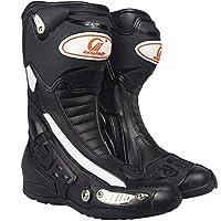 ライディングシューズ バイクブーツ レーシングブーツ バイク ブーツ ブラック ロング バイク ブーツ  バイク用靴 (40(25cm), ブラック)