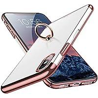 Segoi iPhone Xs ケース/iPhone X ケース リング付き 落下防止 耐衝撃 スタンド機能 メッキ加工 透明 PC おしゃれ 高級感 薄型 軽量 一体型 全面保護カバー アイフォンXケース [5.8インチ] (iPhone Xs/X, ローズピンク)