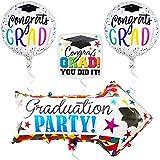 卒業バルーンとヤードサイン - 卒業式や卒業パーティー用矢印ヤードサイン - マイラーホイルヘリウムバルーン - 高校、上級 - 卒業おめでとう。