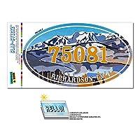 75081 リチャードソン, TX - 雪山湖 - 楕円形郵便番号ステッカー